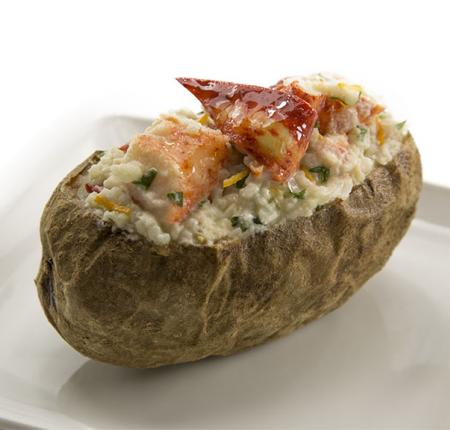 Orange-Tarragon Lobster Topped Baked Potato
