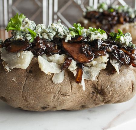 Baked PEI Potato with Caramelized Onions and Mushrooms